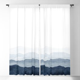 Indigo Abstract Watercolor Mountains Blackout Curtain