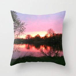 Sunset on St. Mary's Lake Notre Dame Throw Pillow