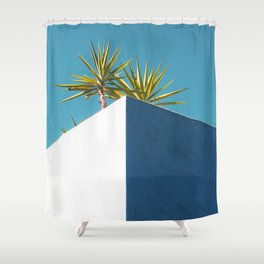 Cactus blue white Shower Curtain