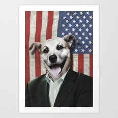 Patriotic Dog   USA Art Print