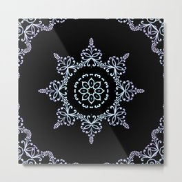 winter star hand drawn kaleidoscope Mandala Metal Print