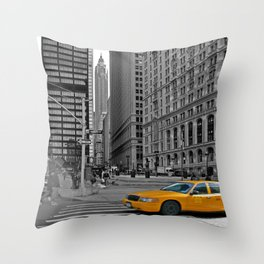 NYC Yellow Cabs Trinity Place - USA Throw Pillow