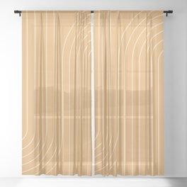 Minimal Line Curvature - Orange Sheer Curtain