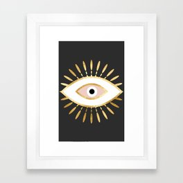 gold foil evil eye in blush Framed Art Print