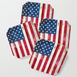 Vintage American Flag On Old Barn Wood Coaster