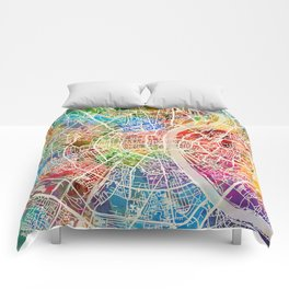 Cologne Germany City Map Comforters