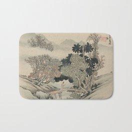 Vintage Japanese Landscape Painting Bath Mat