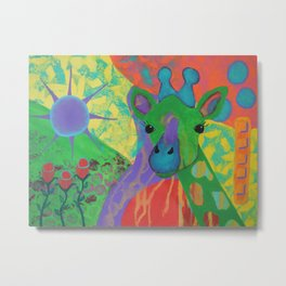 Whimsical Abstract Giraffe in Jewel Tone Colors Green Aqua Purple Blue Yellow Metal Print