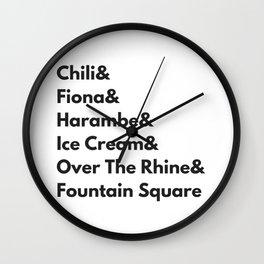 Cincinnati Ohio Hometown Pride Chili, Fiona, Harambe, and Ice Cream Wall Clock