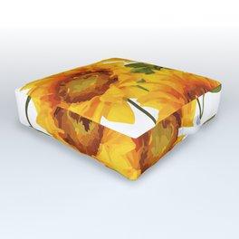 Design Five Sunflower on white Background Outdoor Floor Cushion