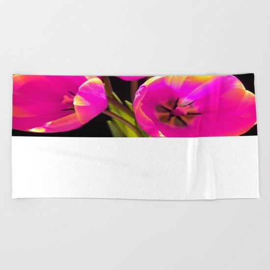 Colours Tulips Beach Towel