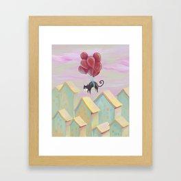Flying black cat, cute kittens, blue eyes, lovely animals, CG, comic, sweet home, journey, graphic Framed Art Print
