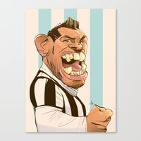 juventus Canvas Prints featuring Carlos Tévez by nachodraws