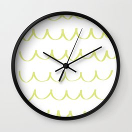 Citron Green Waves Wall Clock