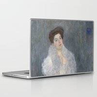 gustav klimt Laptop & iPad Skins featuring Portrait of Hermine Gallia by Gustav Klimt by Palazzo Art Gallery
