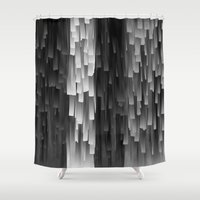 fringe Shower Curtains featuring Fringe (Black and White) by Jacqueline Maldonado