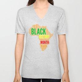 Black History Month Typography Unisex V-Neck