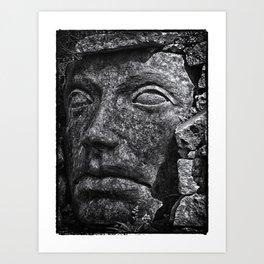 Stone Idol in Black and White Art Print
