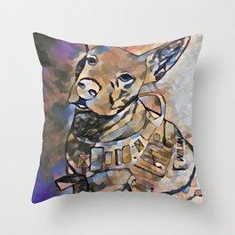 Pitbull Military Dog Throw Pillow