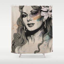 Edwige (street art sexy portrait of Edwige Fenech) Shower Curtain