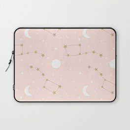 cute lovely pink, white and gold pattern background with constellation, stars, moon and planets Laptop Sleeve