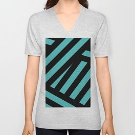 Black blue abstract stripes Unisex V-Neck