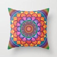 Throw Pillows featuring Lotus Rainbow Mandala by Elspeth McLean
