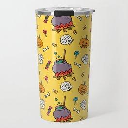 Happy halloween pumpkins, skulls, candies and pots pattern Travel Mug