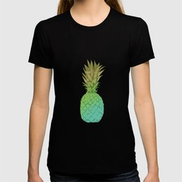 Gold and blue pineapple over blue strips T-shirt