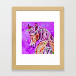 Cinnamon in Pink - Palomino Horse Art Framed Art Print