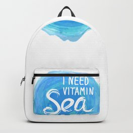 i need vitamin sea White text on blue abstract background, symbol of the sea ocean trendy print Backpack