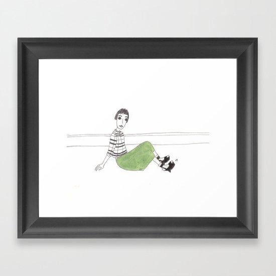 girl on the floor Framed Art Print