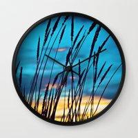 western Wall Clocks featuring Western Sky by Melanie Ann