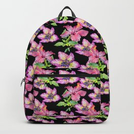 Pink lilac watercolor hand painted tropical floral pattern Backpack