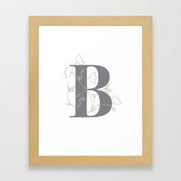 'B' Flower Illustration Framed Art Print