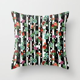 Cactus Flowers and Lines Throw Pillow