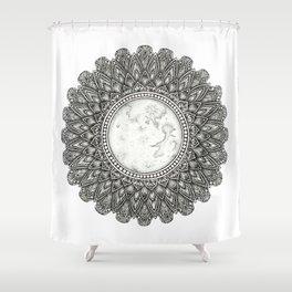 Black and White Moon Mandala Shower Curtain