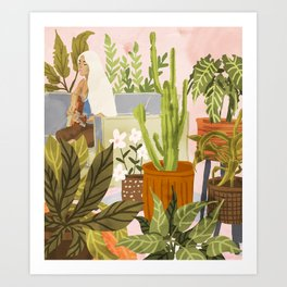 Playing For My Plants Art Print