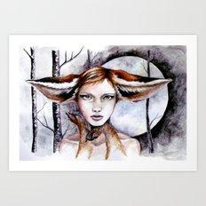 Foxy at Midnight Art Print