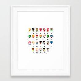 Superhero Alphabet Framed Art Print