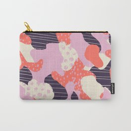 Modern abstract coral purple beige color trend camo camouflage stripes polka dots pattern Carry-All Pouch