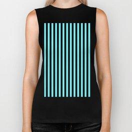 Electric Blue and Black Vertical Stripes Biker Tank