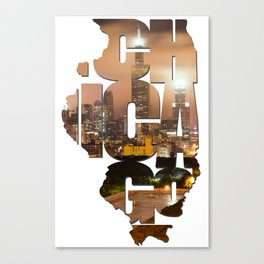 Chicago Illinois Typography - Chicago Skyline From The Rooftop Canvas Print