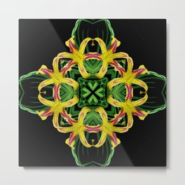 Daylily Mandala - Hemerocallis 'Free Wheelin' k7 Metal Print