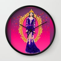 evil queen Wall Clocks featuring  Queen Grimhilde ( The Evil Queen ) by Sara Eshak