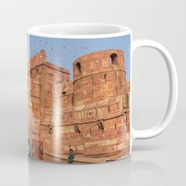 Agra Fort entrance with visitors and pigeons, India Coffee Mug