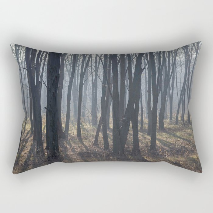 Fog Autumn forest Rectangular Pillow