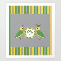 nan lawson Art Prints featuring Green & Yellow Nan Birds by B.D.C. Design