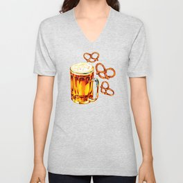 Beer & Pretzel Pattern - Black Unisex V-Neck