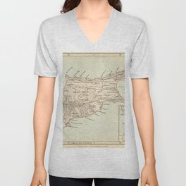 Vintage Map of Cyprus Unisex V-Neck